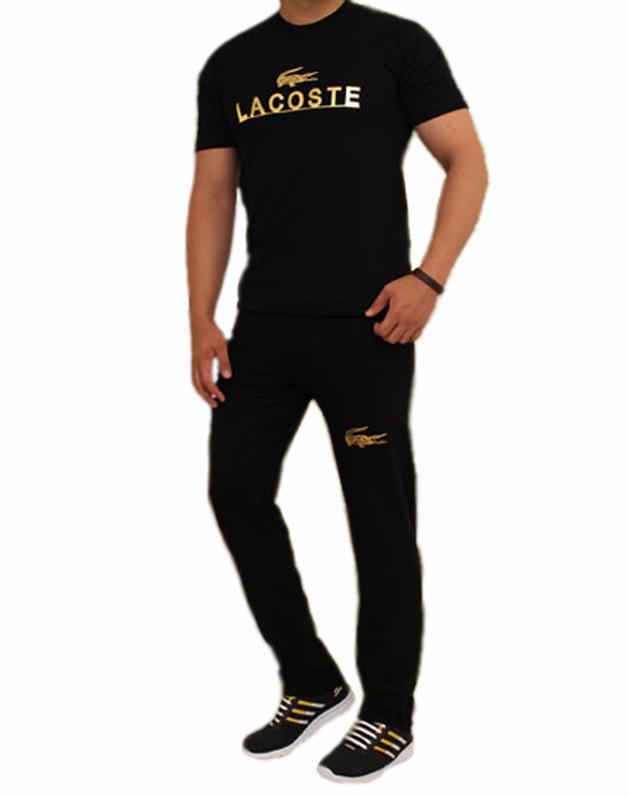 ست تیشرت و شلوار مشکی مدل LACOSTE
