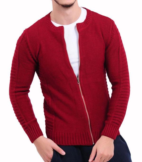 سویشرت مردانه قرمز زیپ دار VAVIN