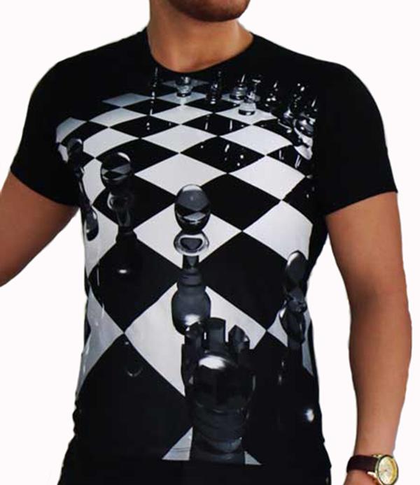 تیشرت آستین کوتاه سه بعدی مدل شطرنج